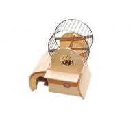Домик для грызунов 2х-этажный + Колесо D140 сверху 22*18*h27 см