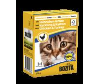 Bozita консервы - кусочки курицы и индейки для кошек (370г)