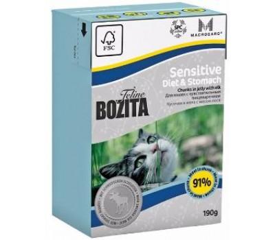 Купить корм Bozita Funktion Diet & Stomach - кусочки лося в желе для кошек с чувствительным пищеварением (190г)