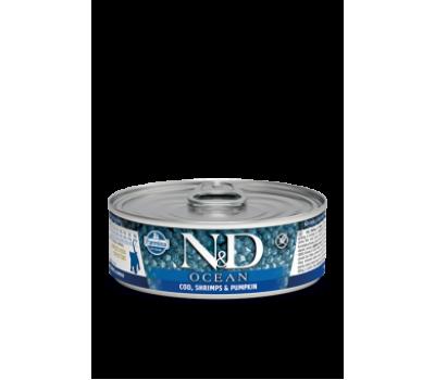 Купить корм Farmina N&D OCEAN Cod&Shrimp&Pumpkin Консервы - с треской,креветкой,тыквой для котят (80г)