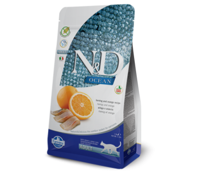 Купить корм Farmina N&D OCEAN ADULT Herring&Orange - беззерновой с рыбой и апельсином для взрослых кошек (300г)