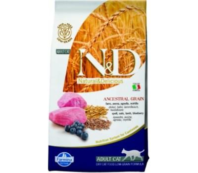 Купить корм Farmina N&D LowGrain Lamb&Blueberry - низкозерновой с ягненком и черникой для взрослых кошек (10кг)