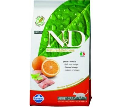 Купить корм Farmina N&D Fish&Orange - беззерновой с рыбой и апельсином для кошек (10кг)