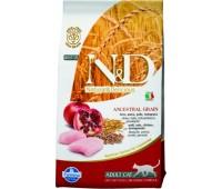 Farmina N&D LowGrain Chicken&Pomegranate 10кг низкозерновой с курицей и гранатом для взрослых кошек