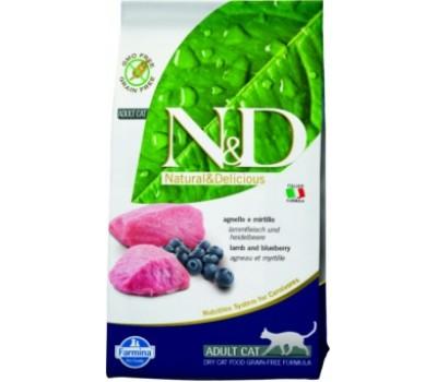 Купить корм Farmina N&D Lamb&Blueberry - беззерновой с ягненком и черникой для кошек (10кг)