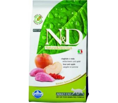 Купить корм Farmina N&D Boar&Apple - беззерновой с кабанятиной и яблоком для кошек (10кг)