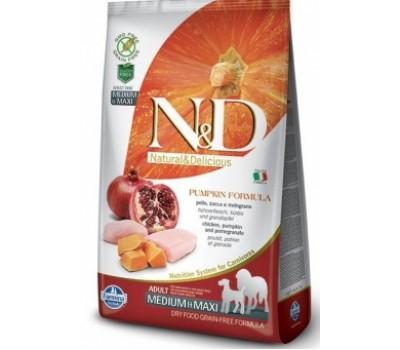 Купить корм Farmina N&D PUMPKIN - беззерновой с курицей, гранатом, тыквой для собак средних и крупных пород (12кг)