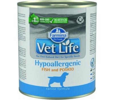 Купить корм Farmina VetLife Hypoallergenic - консервы паштет с рыбой, картофелем при аллергии у собак (300г)