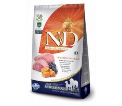 Купить корм Farmina N&D PUMPKIN - беззерновой с ягненком, черникой, тыквой для собак средних и крупных пород (12кг)