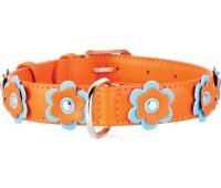 Collar Glamour Цветы ошейник для кошек 9мм 18-21см XS кожа  Голубой