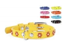 Collar Glamour ошейник для кошек со стразами цветочек 9мм 18-21см XS кож  Рыжий