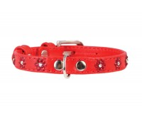 Collar Glamour ошейник для кошек со стразами цветочек 9мм 19-25см XS кожа  Красный