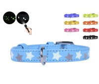 Collar Glamour Звёздочки ошейник для кошек 12мм 21-29см XS кожа  Голубой