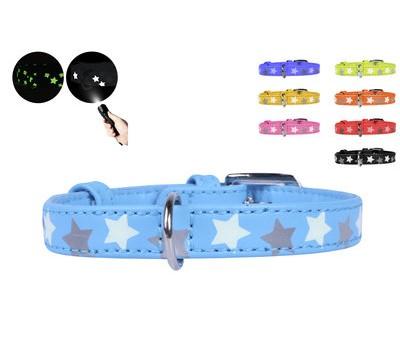 Купить Collar Glamour Звёздочки ошейник для кошек 12мм 19-25см XS кожа  Голубой