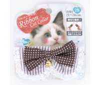 Ошейник-Воротник Чокер с колокольчиком и кружевом для кошек 2S 21-28см  Шоколад