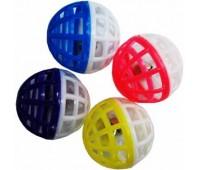 """Мяч пластиковый """"паутинка"""" двуцветный с погремушкой, 4 см"""