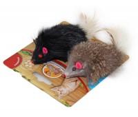 Мышь DOGMAN гремящая меховая с пером 2мышки/1шт 6см