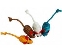 Мышь-погремушка сизаль цветной 5 см