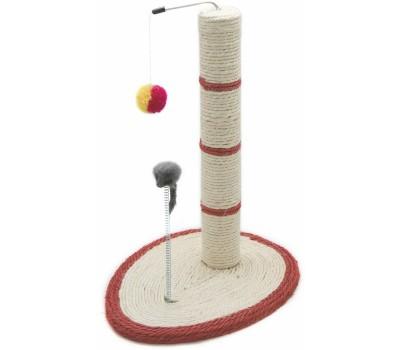 Купить COMFY LEON когтеточка столбик овал подставка \мышь\пружина\мяч(30*40*51см) сизаль\плюш