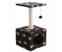 COMFY TED когтеточка квадратная с домиком(30*30*60см) сизаль/флис