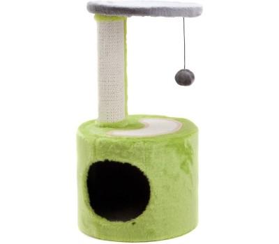 Купить COMFY PATRICK когтеточка круглая с домиком и мячом(31*31*57см) сизаль\плюш