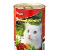 Ночной Охотник консервы паштет с говядиной для кошек 415г