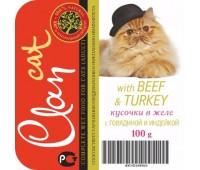 Clan cat 100г Говядина/Индейка кусочки в желе