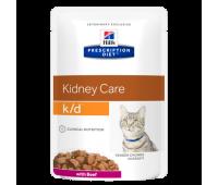 HILL'S PD k/d Kidney Care влажный корм для кошек с говядиной при заболеваниях почек 85 г