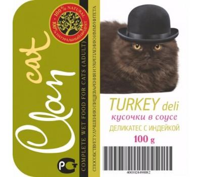Купить Clan cat 100г Деликатес с Индейкой кусочки в соусе