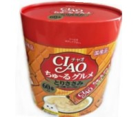 CIAO/ЧАО Лакомство для кошек Соус карпаччо из желтоперого тунца с гребешком,филе курицы 60стиков*14г