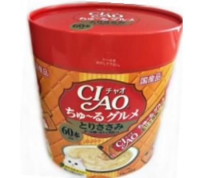 Купить CIAO/ЧАО Лакомство для кошек Соус карпаччо из желтоперого тунца с гребешком,филе курицы 60стиков*14г