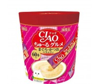 CIAO/ЧАО Лакомство для кошек соус деликатесный фьюжн на основе мраморной вырезки тунца 60стиков*14г