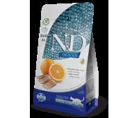 Farmina N&D OCEAN ADULT Herring&Orange беззерновой с рыбой и апельсином для взрослых кошек 300г