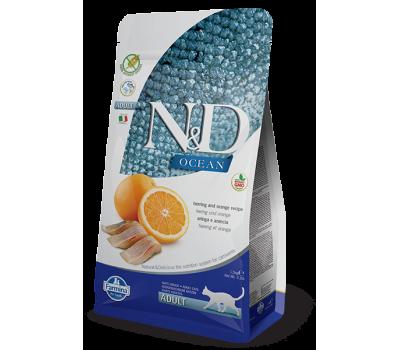 Купить Farmina N&D OCEAN ADULT Herring&Orange беззерновой с рыбой и апельсином для взрослых кошек 300г