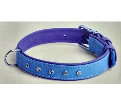 Купить (8815) Before Ошейник Elit стразы 20мм 31-38см  голубо-фиолетовый