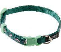 Ошейник 10мм 25-35см лотосы (нейлон) для собак  Зеленый