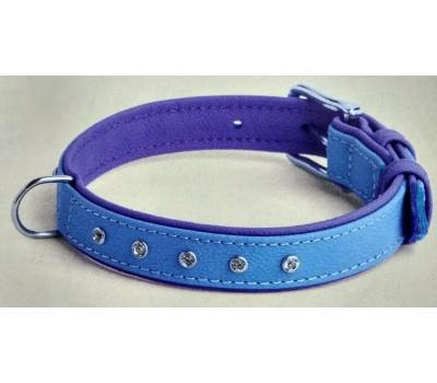 Купить (8812) Before Ошейник Elit стразы 16мм 26-31см  голубо-фиолетовый