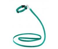 Ошейник + Поводок Saival Classic Рефлекс 12мм 23-38см/120см S нейлон  Зеленый