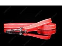 """(0831) Before """"Keeper"""" Поводок со светоотражающей нитью 10мм 120см  Красный"""