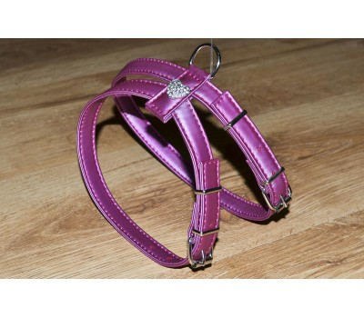 Купить (0146) Before Шлея мелкие породы 16мм Сердце стразы  Фиолетовый