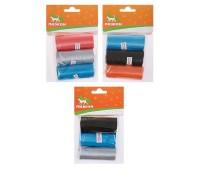 Пакеты для уборки за собаками однотонные (3 рулона по 15 пакетов) микс цветов