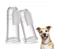 Зубная щетка для собак и кошек на палец 2щетки