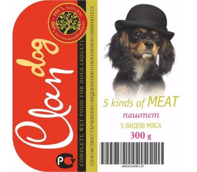Купить Clan Dog для собак 300г паштет 5 видов Мяса