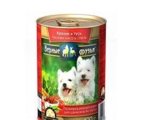 Верные Друзья консервы 415г кусочки кролика, гуся в соусе для щенков